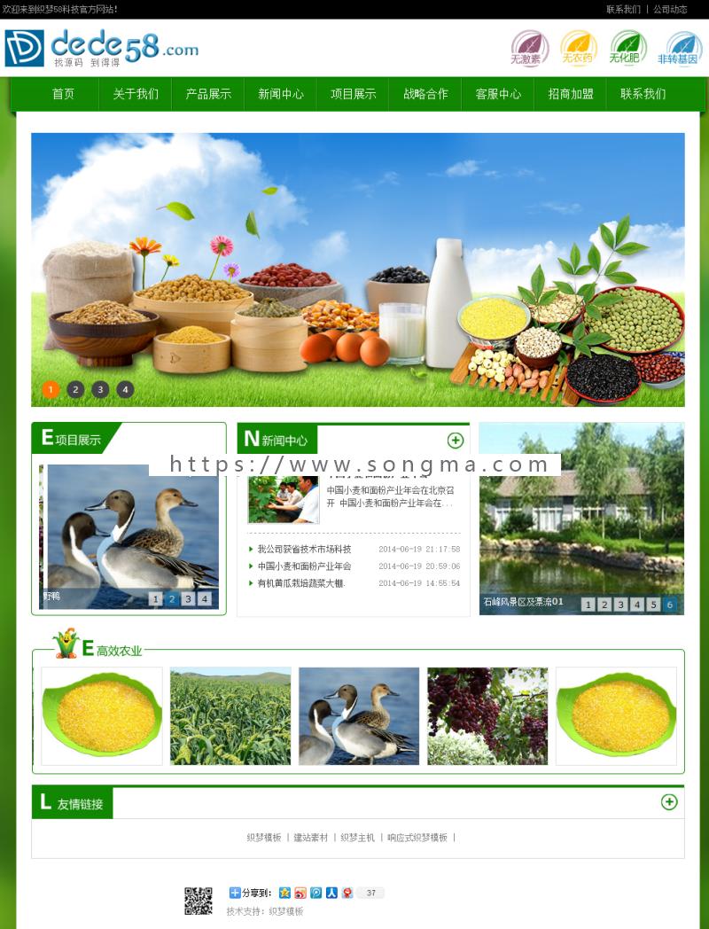 《经营版》高端新版大气通用织梦营销型服务设施类公司绿色农业生态产品类模板