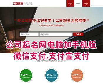 公司起名网源码,起名网源码系统,公司取名网站源码,在线支付微信和支付宝