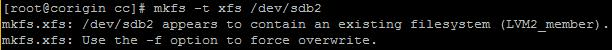 CentOS 7中格式化分区