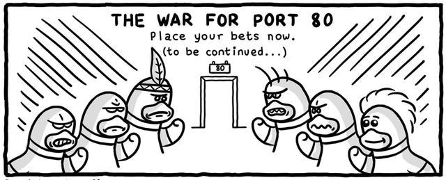 漫画:Apache Nginx80 端口争夺战